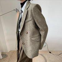 Женщины негабаритные Blazer Normcore Minimalistic Толстая осень Зимнее пальто Женские Костюмы Blazers