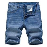العلامة التجارية رجل الصيف تمتد جودة رقيقة الدينيم الجينز الذكور قصيرة الرجال الأزرق جان السراويل السراويل كبيرة الحجم 40 الرجال