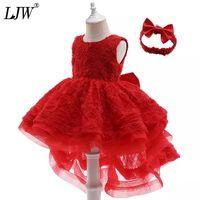 Vestidos da menina ljw infantil para bebê menina lace princesa vestido 1º ano aniversário Batismo Party Born Roupas 6-36 Mês
