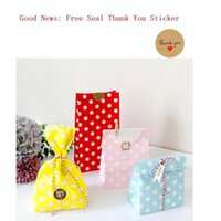 Gift Wrap Colorful Kraft Paper Bag Treat Candy Chevron Polka Dot Cookie Packaging Party Favors Wedding