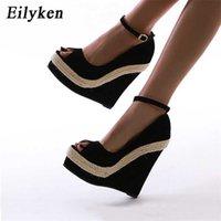 Eilyken Marca Sexy Plataforma Cuñas Zapatos Altos Zapatos Sandalia Paja Paja Partido Tobillo Wrap Woman Sandalias 210619