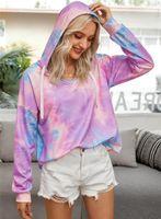Women's Hoodies & Sweatshirts Tie Dye With Hooded Women Casul Loose Tops Fashion V-neck Pullovers 2021 Autumn Tie-dye Female