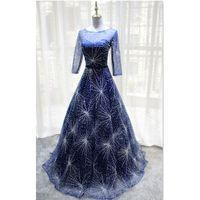 Elegante marinho azul mãe da noiva vestidos de mangas compridas lace-up vestidos de festa de volta 2021 Último estilo