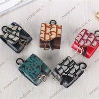Étuis Airpod en cuir textile de mode pour AirPods 1 2 PRO 3 Sac de couverture avec marque de luxe Anti Lost Crochet Porte-clés Keychain 050721