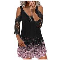 Casual Dresses Women Flower Print Summer Zipper V-Neck Vintage Plus Size Dress Beach Sling Off Shoulder Lace Party #T1G