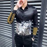 Gzdeerax Uzun Kollu Erkek Gömlek Lüks Dağları Tasarım Baskılı Parti Erkek Artı Boyutu 4XL Moda Slim Fit Adam Erkekler Günlük