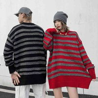 Harajuku Color contest Straight Streetwear Trunks Men and women Trui Around the neck Oversize Casual Trui Used Loose Tops