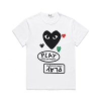 En İyi Kalite Siyah G Garcons CDG Tatil Kalp Oyun Tee T-Shirt Gelgit Marka Şeftali Pamuk T Gömlek Siyah Backwinding Kalp Severler Mektuplar