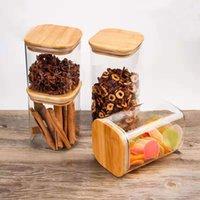 Квадратная древесина прозрачное стекло с крышкой канистр хранения бутылок для хранения барабанов пищевые чай кофейные зерна контейнеры кухонные предметы