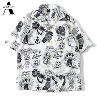 Ajzhy череп печати гавайская рубашка мужчины летние хип-хоп уличная одежда Harajuku Tees S повседневная короткая рукава топы на 210608