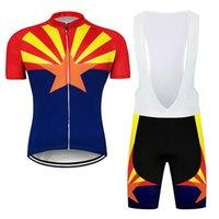 2021 애리조나 주 플래그 남자 사이클링 저지 턱받이 반바지 키트 자전거 셔츠 짧은 바지 패드