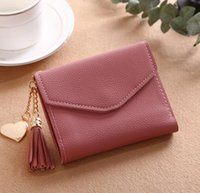 Storage Bags Solid Color Mini Pu Leather Wallets Short Zipper Purses Tassel Money Coin Purse For Ladies Women Supplies RRD7663