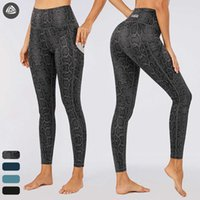 Kadın Tayt Yılan Leopar Hayvan Baskı Cep Ile Legging Yüksek Bel Aktif Pantolon Elastik Yoga Giyim Tayt Kadın