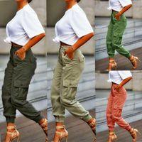 YSKKT Cargo Hosen Frauen Hohe Taille Frühling Herbsttasche Slim Sweatpants Mode Streetwear Lange Overalls Pant Elastics Hose Frauen CA