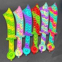 Fidget Toys Poussez Bubble Katana Sword Shase Formation Favoris Sensory Puzzles Bubbles Silicone Board Jeux de stress éducatif Décompression