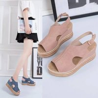 Dress Shoes Women's Sandals Summer Style Large Size Slope With Thick-soled Buckle European And American Open Toe High Heels