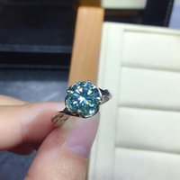 Wedding Rings Luxury Silver Color Blue Green Gems Crystal Ring Cocktail Party Princess Engagement Bridal Fine Jewelry Gifts