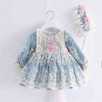 2 adet Bebek Kız Uzun Kollu Mavi Vintage Lolita Balo Çocuk İspanyol Prenses Elbise Kız Doğum Günü Nedime Elbiseler Için 210402