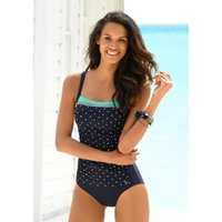 One-Piece Suits Women's Swimsuit 2021 Dot Swimwear Vintage One Piece Feminine Bikinis Patchwork Bath Suit Plus Size Jumpsuit Summer Beach We