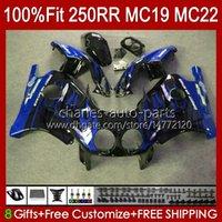 Injektionskropp för Honda CBR250RR MC19 1988-1989 CBR 250 RR CC 250R 250RR 88 89 112HC.266 Blue Flames CBR250 RR CC 1988 1989 Bodywork CBR 250CC 88-89 OEM Fairings Kit