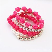 Multicolor Rose Beads Elastic Bracelet For Women Girls Prom Party Personality Fashion Bangle Jewelry Accessory Link, Chain