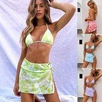 Seksi Kravat Boya Bandaj Bikini Seti Push Up Mayo Kadınlar Üç Parça Mayo Halter Kapak-Up Mayo Beachwear Biquini
