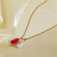 Natürliche Süßwasserperle Rote Korallen Anhänger Edelstahl Halskette Für Frauen Einzigartiger Choker Schmuck Sommer Party Halsketten 1816 Q2