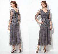2019 new design fashion sheer beads tea length mother of bride dresses 3 4 long sleeves custom made high quality