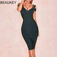 Beaukey Hot Sex Vol Vol Vert Bandage Double Strap Party Club Élastique Blanc Blanc Rouge Bormon Vestido Plus Taille XL Chine 210329