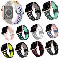 Silicone Breathable Loop Watch Band Sport Strap Double Color Hollow Out Design Rubber Watchband for iWatch 5 4 3 2 1 38 40 42 44mm