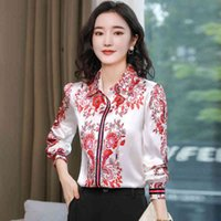 Womens Tops Silk Button Up Shirt Spring Satin Printed Long Sleeve Top Women Blouse and Tops 210512