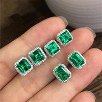 Choucong Stunninjg Simple Fashion Jewelry 925 Sterling Silver Princess Cut Emerald CZ Diamond Gemstones Women Wedding Stud Earring Gift