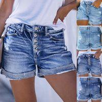 Kadın Şort Jeans Mini Pantolon Yüksek Bel Denim Delik Plaj Alt Kısa Kadın Yaz Pantalon Corto Mujer ve
