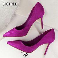 Bigtree Shoes Altos Saltos Camurça Mulheres Bombas Escritório Sexy Feminino Stiletto Casamento Plus Size 43 210610