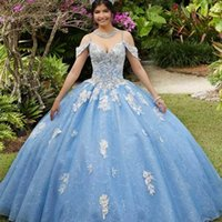 Light Blue Quinceanera Dresses Lace Applique Beaded Off the Shoulder Spaghetti Straps 2022 Custom Made Sweet 15 16 Princess Birthday Party Ball Gown vestidos