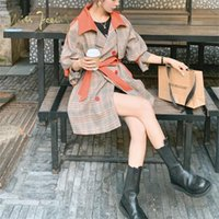 Chic Women's Color Matching Windbreaker Spring Fall Korean Loose Plaid Overcoat Plus Size British Trench Coat With Belt Coats