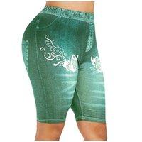 Women's Leggings Short Jeans For Women High Waist Elastic Denim Pants Imitation Fitness Leggins Printed Slim Trousers #T5P