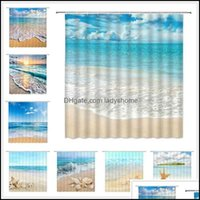Bathroom Aessories & Gardenocean Beach Shower Curtains Sea Wave Blue Sky Hawaii Scenery Shell Starfish Home Decor Bath Bathtub Waterproof Cl