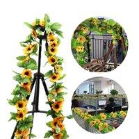 Artificiale giallo Girasole Ghirlanda Ghirlanda Fiore Vite da sposa Floral Arch Decor Parete di seta Appeso Rose Stringa 2.5m Fiori decorativi lunghi Wrea
