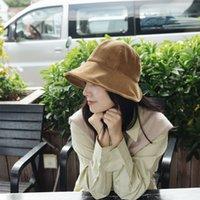 Autumn and winter hat cute dome big eaves irregular solid corduroy fisherman's hat Korean versatile basin hat