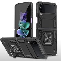 Metal Ring Stand Shockproof Cases For Samsung Galaxy Z Flip 3 zflip 5G Flip3 2021 Magnetic Car Mount Phone Case