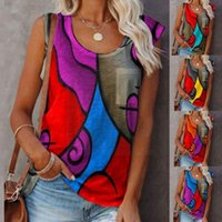 Women's Tanks & Camis Summer Vintage T-shirts Colorblock Sleeveless Casual Loose O-neck Size Tops T-shirt Shirt T Plus Pullover F4i6