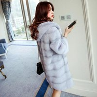 Women's Fur & Faux High Quality Mink Cashmere Coat Women Large Long Thick Jacket Artificial Fashion Wool Hooded Outwear L1346