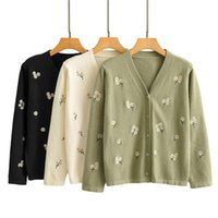sweaters Embroidered Sweater Jacket Spring Autumn Casual Girls New Korean Sweet Flower Knitted Cardigan Coat Women Tops