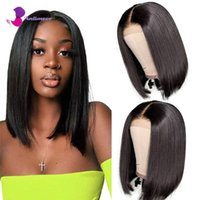 Lace Wigs Short Bob Human Hair Closure Brazilian Virgin Straight Front For Black Women Pre Plucked