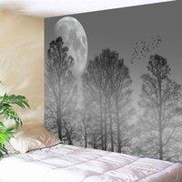 태피스트리 안개가 자욱한 숲 moonlit 밤 태피스트리 풍경 벽 매달려 장식 거실 침실 집