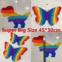 45cmx30cm super grande tamanho fidget brinquedo arco-íris dinossauro borboleta empurrar bolha brinquedos o autismo de alívio de estresse precisa de presentes de crianças