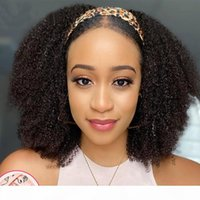 Headband Wig Black Afro Kinky Human Hair Wigs Brazilian Virgin Remy Hair Afro Kinky Curly For Black Women