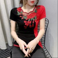 Sommer Mode Womens Tops Folk Kleidung Sexy Aushöhlen Stickerei T-Shirt Frauen Ethnische Ropa Mujer Bottoming Tees T03207