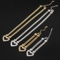 Fashion Crystal Heart Pendant Necklace Bracelet Set Gold Color Double Chain Link Women Jewelry Girl Gift 2021 Earrings &